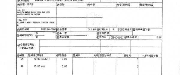 ADIDAS/PUMA/NIKE/REEBOK 2015년4월3일 수입건